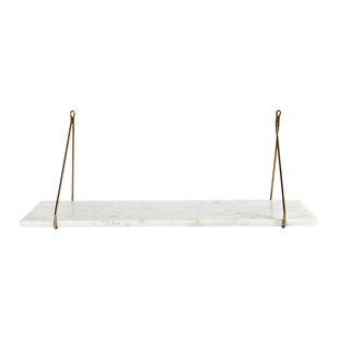 White Marble Shelf with Brass Brackets