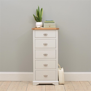 New England Light Grey Tall 5 Drawer Chest