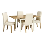 Somerset Painted 90cm-155cm Ext. Table and 4 Leather Chairs 1040.025_zvkjkzib