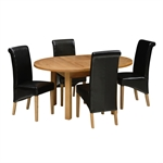 Light Oak 120-160cm Table and 4 Black Rollback Chairs 340.035.8
