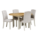 Hampstead Stone Grey 110-150cm Round Ext. Table and 4 Button Back Chairs 390.058_nwfw6jzy