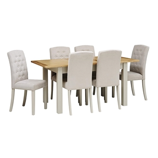 Hampstead Stone Grey 140cm-180cm Table and 6 Button Back Chairs