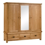 Salisbury Oak Triple Wardrobe Bedroom Set 596.108.6