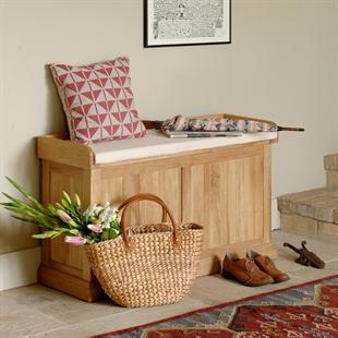 Georgian Oak Hallway Storage Bench with Cushion