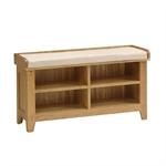 Rustic Oak Shoe Storage Bench and Cushion 608.032_bibrrabp