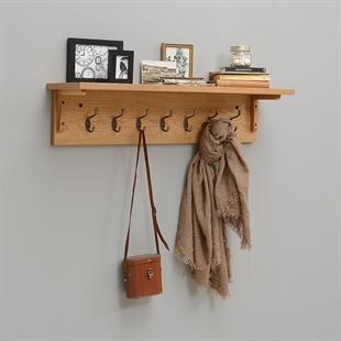 Rustic Oak 7 Hook Coat Rack