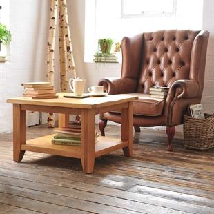 Rustic Oak Large Square Coffee Table