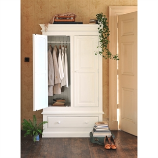 Provence Painted Double Wardrobe with Drawer
