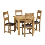 Rustic Oak 90-155cm Ext. Table and 4 Leather Seat Ladderback Chairs 610.004_33a21mmj
