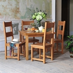 Rustic Oak 90cm-155cm Ext. Table and 4 Ladderback Chairs 610.008_69b7rot6