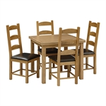 Light Oak 90-155cm Ext. Table and 4 Ladderback Chairs 610.028_3fqdcl6c