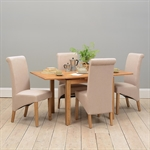 Light Oak 90-155cm Ext. Table and 4 Linen Rollback Chairs 610.045_q9nkclg0