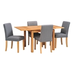 Light Oak 90-155cm Ext. Table and 4 Grey Chairs 610.047_czdsgsrc