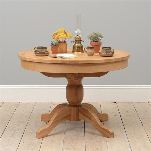 Light Oak 110-145cm Round Ext. Dining Table