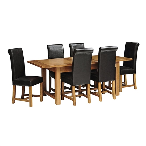 dcf0ae98a9 rustic oak 180 220 260 ext table and 6 leather chairs including free  delivery 610.07.