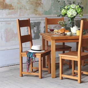 Rustic Oak 220-265-310 Ext. Table and 8 Wooden Seat Chairs