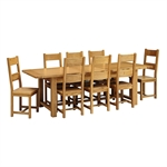 Rustic Oak 220-265-310 Ext. Table and 8 Wooden Seat Chairs 610.076_u8pohxym