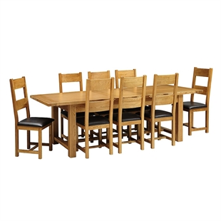 Rustic Oak 220-265-310 Ext. Table and 8 Leather Seat Chairs