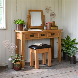 Rustic Oak Console Dressing Table Set