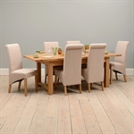 Light Oak 180-220-260cm Ext. Table and 6 Linen Rollback Chairs 610.117_n7oyz7vi