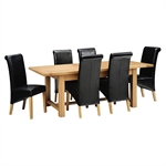 Light Oak 180-220-260cm Ext. Table and 6 Black Rollback Chairs 610.121_pazdvtjz