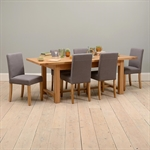 Light Oak 180-220-260cm Ext. Table and 6 Grey Chairs 610.123_63x6rqp9