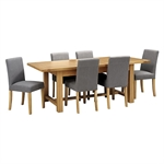 Light Oak 180-220-260cm Ext. Table and 6 Grey Chairs 610.123_gzyilcyx