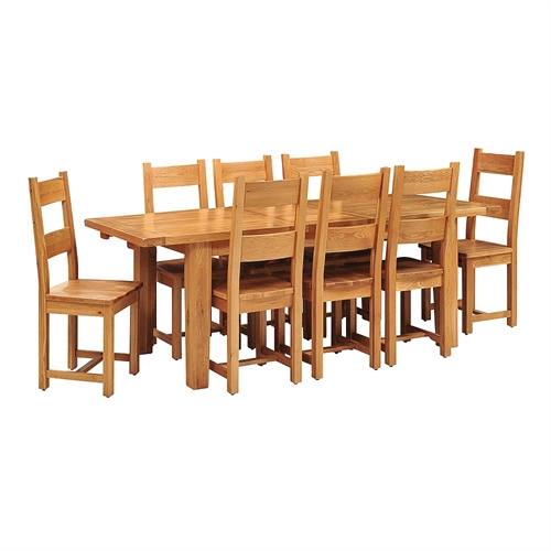 Vancouver oak 180cm 230cm dining set with 8 chairs for Dining room tables vancouver