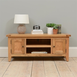 Vancouver Oak Large TV Stand - up to 53