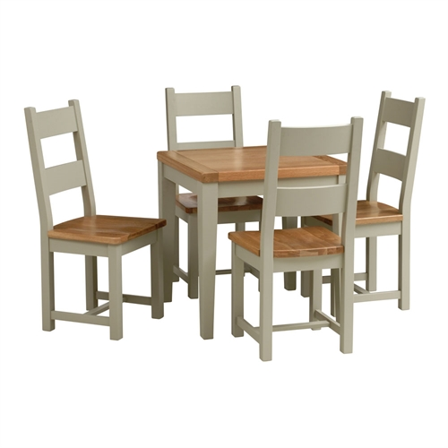 houghton french grey small dining set with 4 ladderback chairs