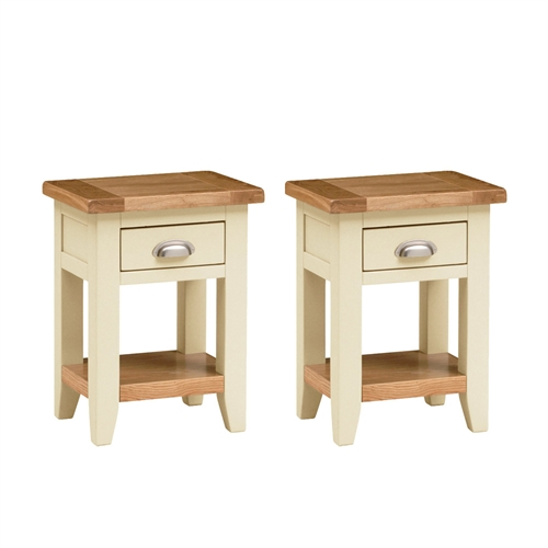 Canterbury cream set of 2 small bedside tables including free delivery pine solutions - Bedside tables for small spaces set ...