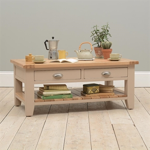 Pavillion Soft Truffle Coffee Table with Drawers