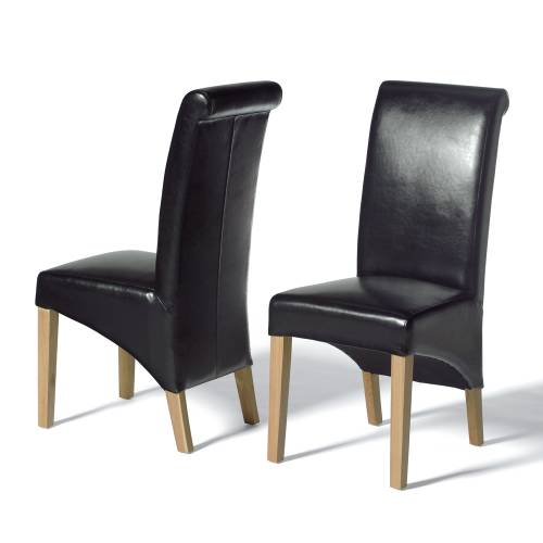 light oak rollback black leather dining chair including free delivery