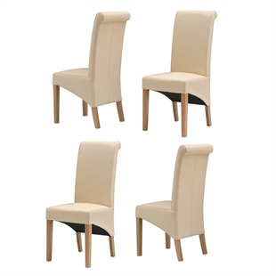 Light Oak Rollback Cream Leather Chairs - Set of 4