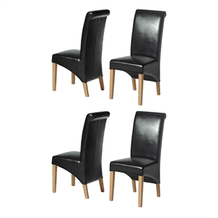 Light Oak Rollback Black Leather Dining Chairs Set of 4