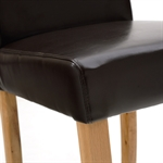 Light Oak Brown Leather Dining Chairs - Set of 4 808.084.2