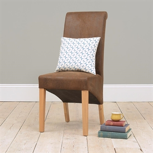 Light Oak Rollback Bison Leather Dining Chair