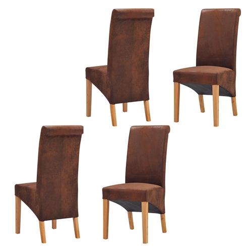 light oak set of 4 bison rollback dining chairs including