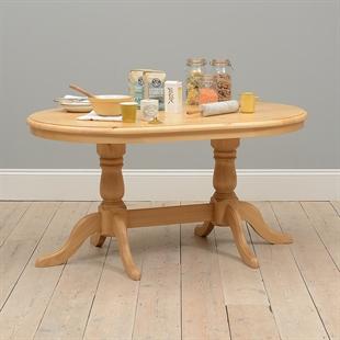 Farmhouse Pine Fixed Top Double Pedestal Table
