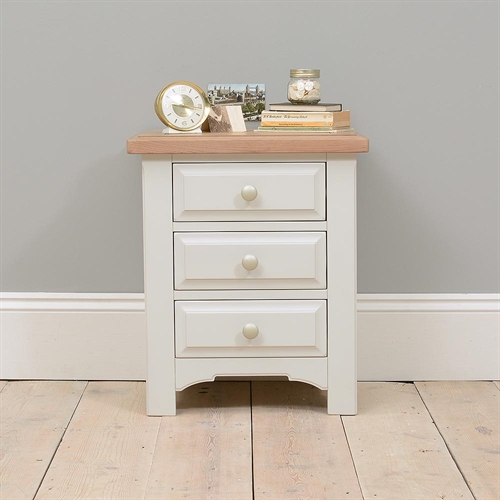 Clermont Grey Painted 3 Drawer Bedside