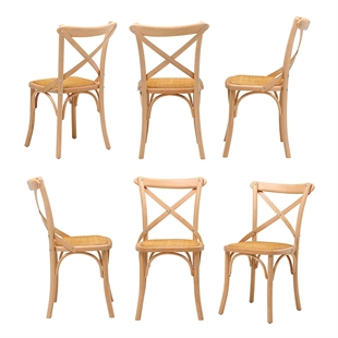 Set of 6 Natural Bistro Chairs